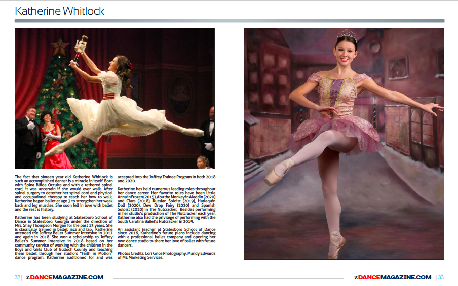 SSOD Student Katherine Whitlock Featured in iDance Magazine